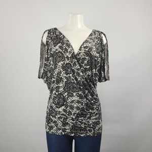 Guess Black Rose Cross Over Top Size S